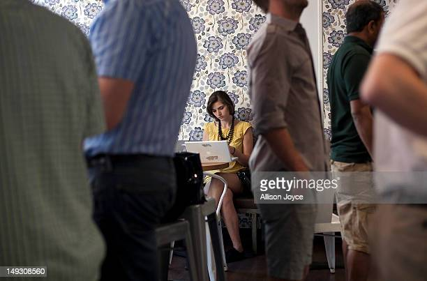 Matilde Hoffman works on her computer at a coffee shop July 25 2012 in New York City Matilda graduated from University of Southern California in...