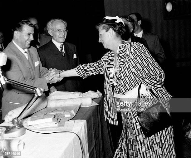 Matilde Santambrogio awarded at the Teatro Lirico for her fifty years of service Milan 1950s