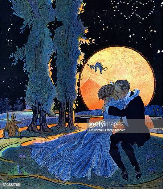 Mating time 1910 By Gordon Ross 18731946 artist Illustration shows a young man and a young woman kissing and their reflection in the full moon in the...