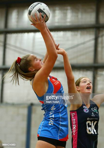 Matisse Letherborrow of the Waratahs in action during the Australian Netball League third place playoff between the NSW Waratahs and Victoria Fury at...