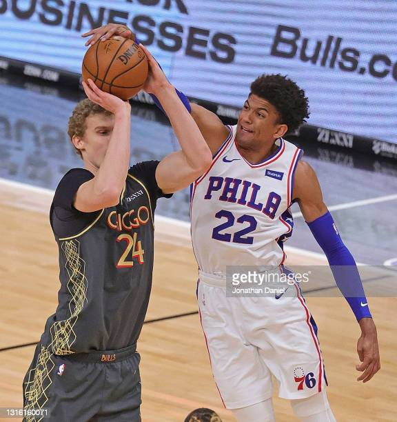 Matisse Thybulle of the Philadelphia 76ers blocks a shot by Lauri Markkanen of the Chicago Bulls at the United Center on May 03, 2021 in Chicago,...