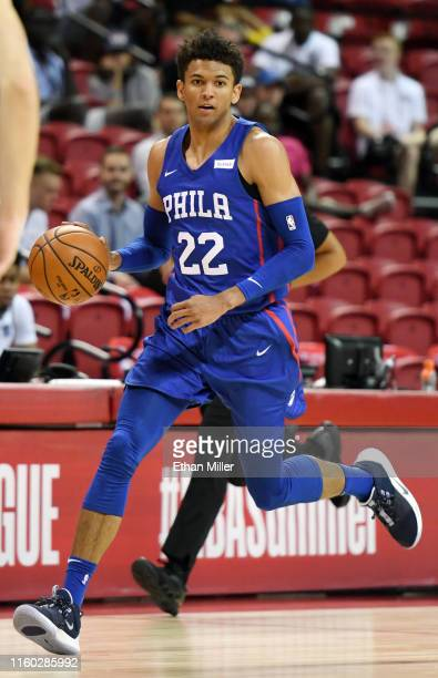Matisse Thybulle of the Philadelphia 76ers brings the ball up the court against the Milwaukee Bucks during the 2019 NBA Summer League at the Thomas...