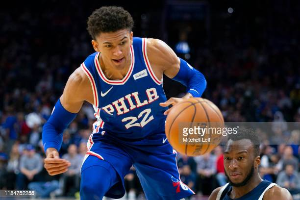 Matisse Thybulle of the Philadelphia 76ers defends Josh Okogie of the Minnesota Timberwolves in the first quarter at the Wells Fargo Center on...