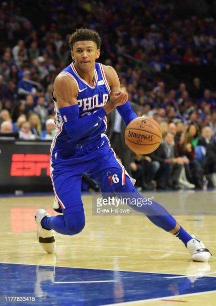 Matisse Thybulle of the Philadelphia 76ers drives to the net against the Boston Celtics at Wells Fargo Center on October 23, 2019 in Philadelphia,...