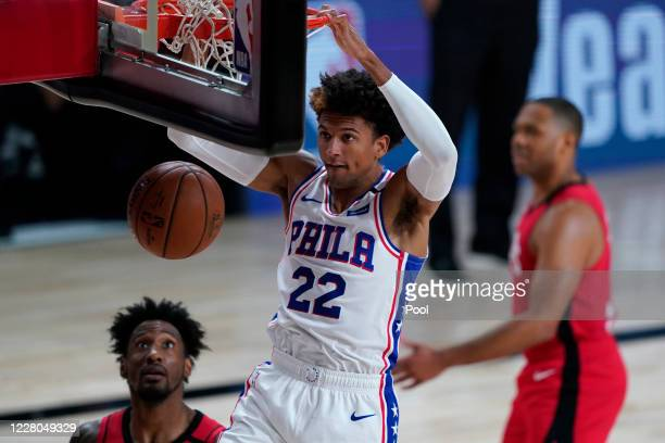 Matisse Thybulle of the Philadelphia 76ers dunks against the Houston Rockets during the second half of an NBA basketball game at the ESPN Wide World...