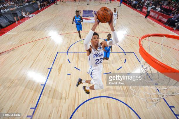 Matisse Thybulle of the Philadelphia 76ers dunks the ball against the Oklahoma City Thunder on July 8 2019 at the Cox Pavilion in Las Vegas Nevada...