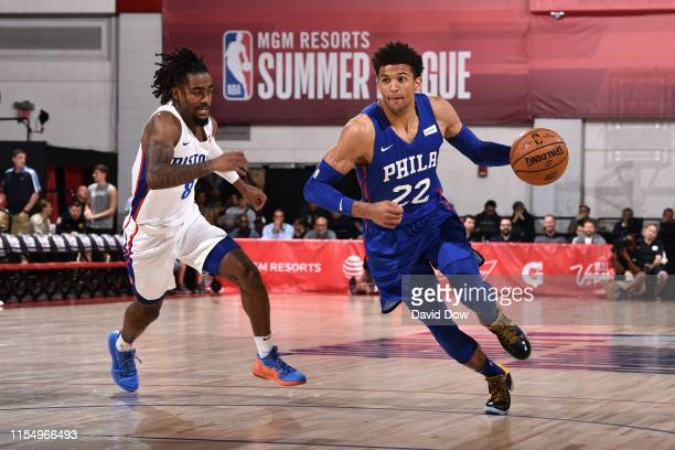 Matisse Thybulle of the Philadelphia 76ers handles the ball against the the Detroit Pistons on July 10 2019 at the Cox Pavilion in Las Vegas Nevada...