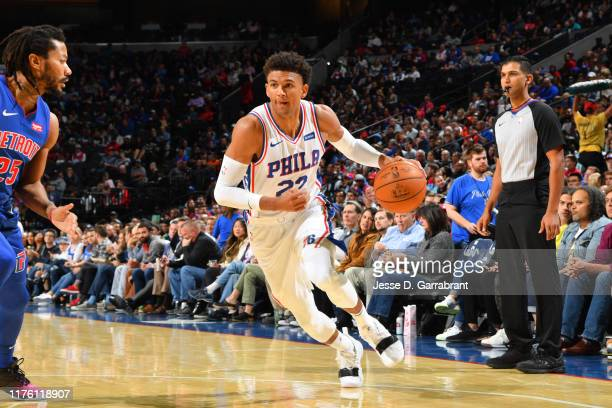 Matisse Thybulle of the Philadelphia 76ers handles the ball against the Detroit Pistons during a pre-season game on October 15, 2019 at the Wells...