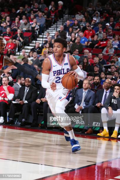 Matisse Thybulle of the Philadelphia 76ers handles the ball against the Portland Trail Blazers on November 2, 2019 at the Moda Center Arena in...
