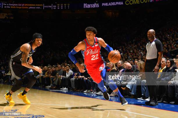 Matisse Thybulle of the Philadelphia 76ers handles the ball against the Golden State Warriors on January 28, 2020 at the Wells Fargo Center in...