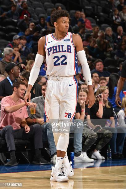 Matisse Thybulle of the Philadelphia 76ers looks on against the Washington Wizards during a pre-season game on October 18, 2019 at the Wells Fargo...