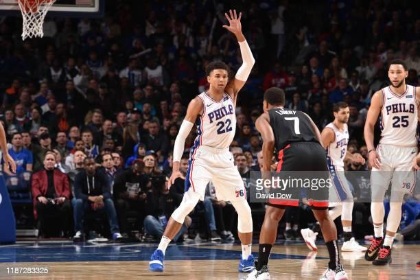 Matisse Thybulle of the Philadelphia 76ers plays defense against the Toronto Raptors on December 8, 2019 at the Wells Fargo Center in Philadelphia,...