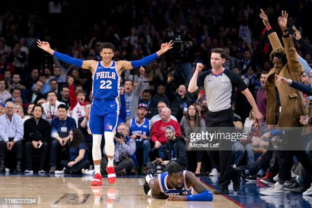 Matisse Thybulle of the Philadelphia 76ers reacts after James Ennis III made a basket and was fouled by the Utah Jazz in the second quarter at the...