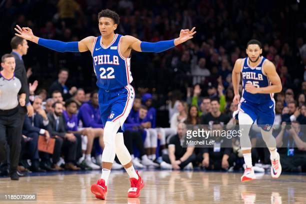 Matisse Thybulle of the Philadelphia 76ers reacts after making a three point basket against the Sacramento Kings in the third quarter at the Wells...