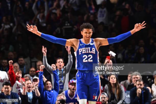 Matisse Thybulle of the Philadelphia 76ers reacts during a game against the Utah Jazz on December 2, 2019 at the Wells Fargo Center in Philadelphia,...