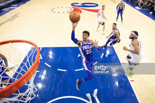 Matisse Thybulle of the Philadelphia 76ers shoots the ball against the Minnesota Timberwolves in the second quarter at the Wells Fargo Center on...