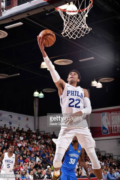 Matisse Thybulle of the Philadelphia 76ers shoots the ball to force over time against the Oklahoma City Thunder on July 8 2019 at the Cox Pavilion in...