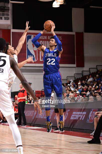 Matisse Thybulle of the Philadelphia 76ers shoots three point basket against the Toronto Raptors during Day 8 of the 2019 Las Vegas Summer League on...