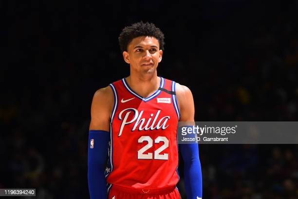 Matisse Thybulle of the Philadelphia 76ers smiles during a game against the Los Angeles Lakers on January 25, 2020 at the Wells Fargo Center in...