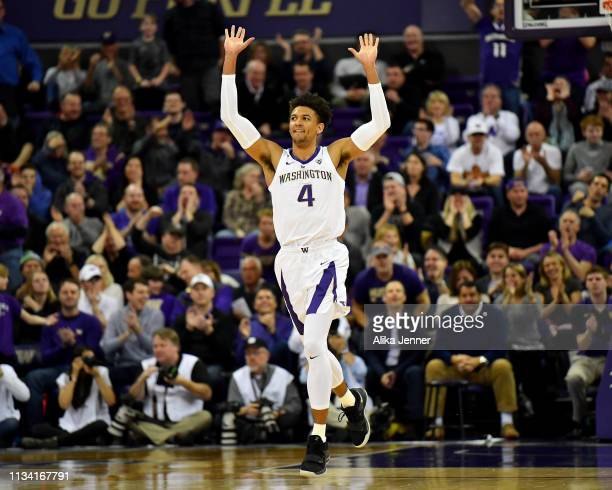 Matisse Thybulle of the Washington Huskies celebrates as his team gets hot during a run against the Oregon State Beavers at Hec Edmundson Pavilion on...