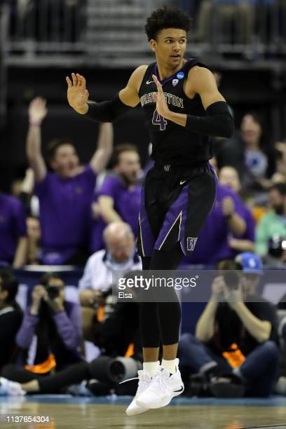 Matisse Thybulle of the Washington Huskies celebrates as they take on Utah State Aggies during the second half of the game in the first round of the...