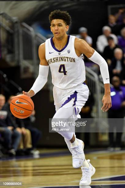 Matisse Thybulle of the Washington Huskies drives down the court during the first half at Hec Edmundson Pavilion on January 19 2019 in Seattle...
