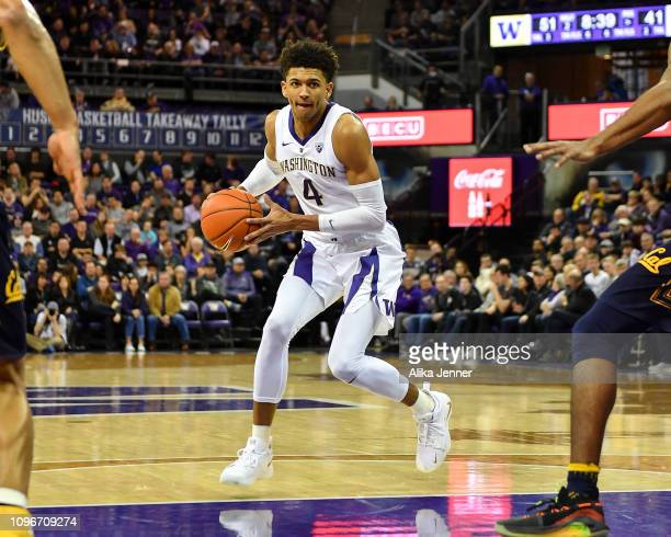 Matisse Thybulle of the Washington Huskies looks for an opening against the California Golden Bears at Hec Edmundson Pavilion on January 19 2019 in...