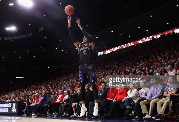 Matisse Thybulle of the Washington Huskies puts a threepoint shot against the Arizona Wildcats during the second half of the NCAAB game at McKale...