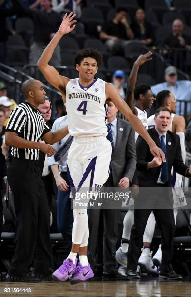 Matisse Thybulle of the Washington Huskies reacts after hitting a 3pointer against the Oregon State Beavers during a firstround game of the Pac12...