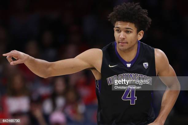 Matisse Thybulle of the Washington Huskies reacts during the first half of the college basketball game against the Arizona Wildcats at McKale Center...