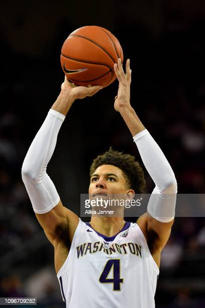 Matisse Thybulle of the Washington Huskies shoots a free throw in the second half at Hec Edmundson Pavilion on January 19 2019 in Seattle Washington