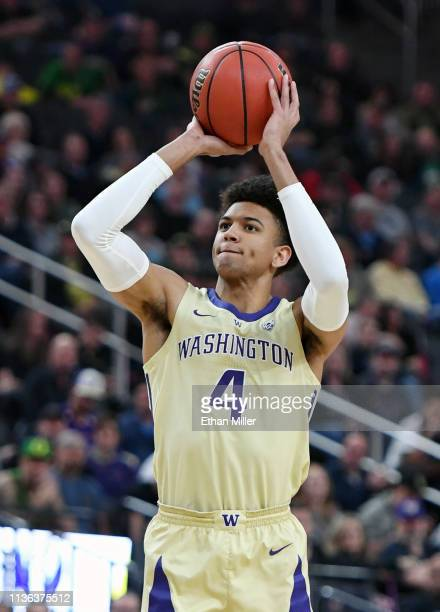 Matisse Thybulle of the Washington Huskies shoots against the Oregon Ducks during the championship game of the Pac12 basketball tournament at TMobile...