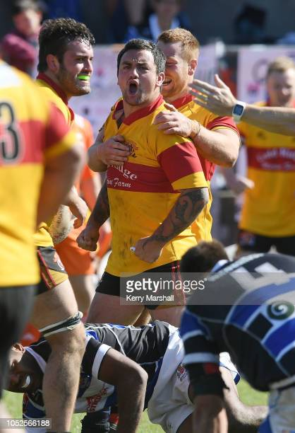 Matiu Abraham of Thames Valley reacts during the Heartland Championship Meads Cup Semi Final match between Wanganui and Thames Valley on October 20...