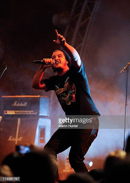 Matiu Walters lead singer of Six60 performs during the Rise Up Christchurch telethon appeal event at CBS Canterbury Arena on May 22 2011 in...