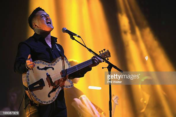 Matiu Walters of Six60 performs during the 2012 Vodafone New Zealand Music Awards at Vector Arena on November 1 2012 in Auckland New Zealand