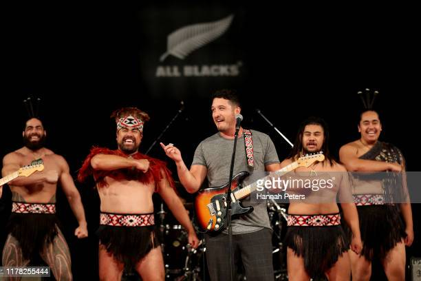 Matiu Walters of Six60 sings during an All Blacks fan event at the Beepu BCon Plaza Convention Hall on October 01 2019 in Beppu Oita Japan