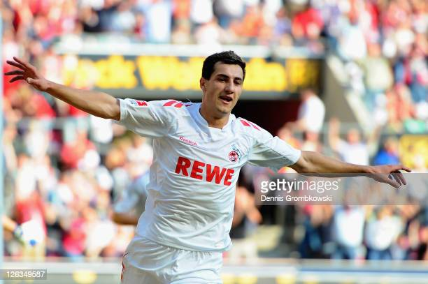Mato Jajalo of Koeln celebrates after scoring his team's opening goal during the Bundesliga match between 1. FC Koeln and 1899 Hoffenheim at...