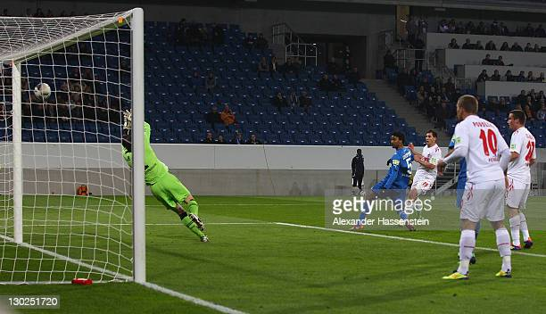 Mato Jajalo of Koeln scores the opening goal during the DFB Pokal second round match between TSV 1899 Hoffenheim and 1FC Koeln at RheinNeckarArena on...