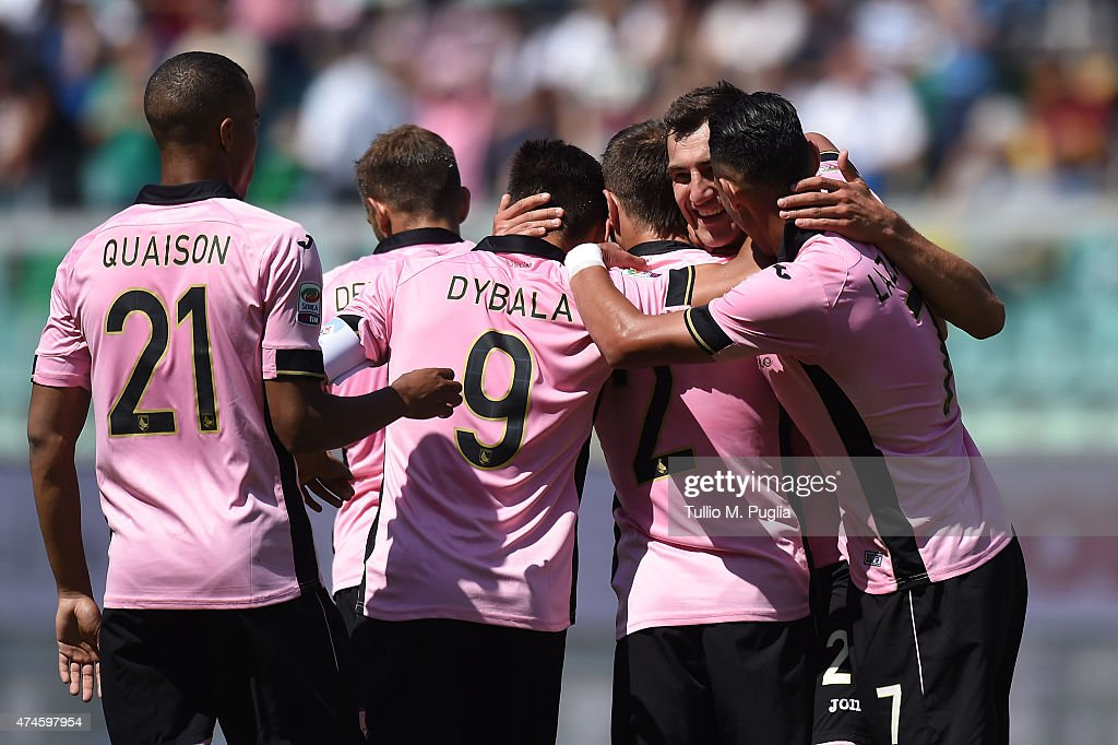 Mato Jajalo of Palermo celebrates after scoring the equalizing goal during the Serie A match between US Citta di Palermo and ACF Fiorentina at Stadio Renzo Barbera on May 24, 2015 in Palermo, Italy.