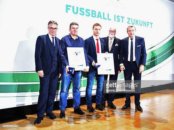 Mato Mitrovic and Daniel Jurgeleit are honored during the Club 100/Fair ist mehr Award Ceremony at Rathaus Nuernberg on November 14 2014 in Nuremberg...