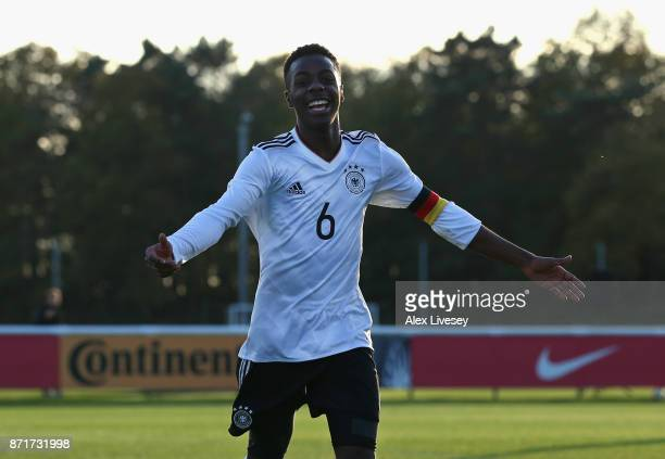 Matondo Merveille Papela of Germany U17 celebrates after scoring the opening goal during the International match between Russia U17 and Germany U17...