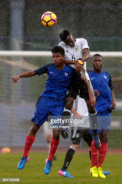 MatondoMerveille Papela of Germany U16 challenges Yann Gboho of France U16 during the UEFA Development Tournament Match between Germany U16 and...