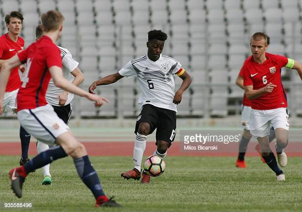 MatondoMerveille Papela of Germanyin action during the Germany vs Norway U17 at Pampeloponnisiako Stadium on March 21 2018 in Patras Greece