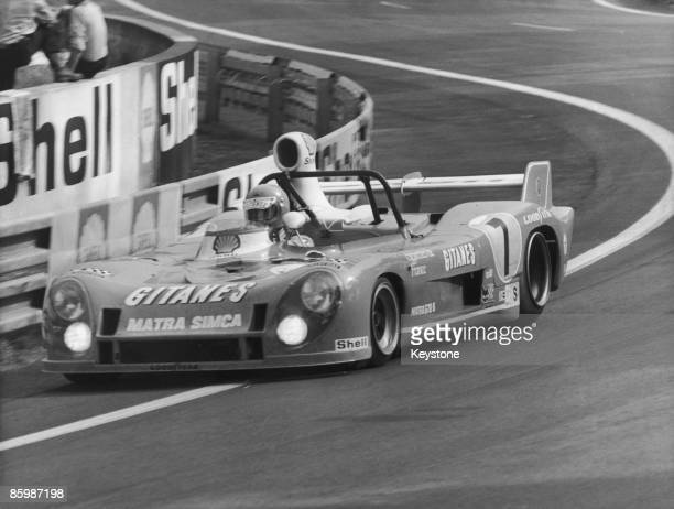 A MatraSimca MS670C of Equipe Gitanes on its way to victory in the 24 Hours of Le Mans at the Circuit de la Sarthe France 15th16th June 1974 The car...