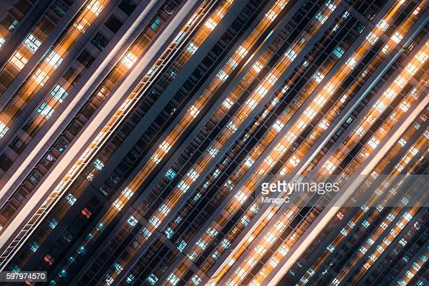 matrix effect, dynamic motion lights of illuminated windows - igniting stock photos and pictures