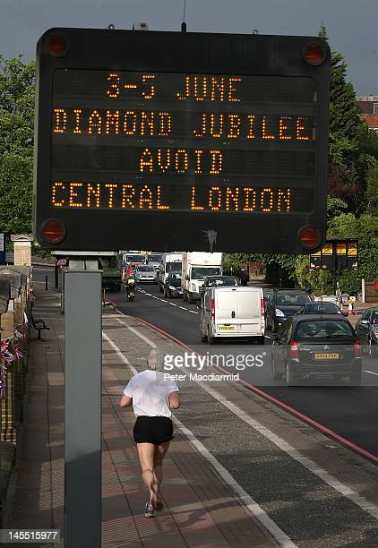 A matrix road sign warns drivers of traffic problems for the extended Diamond Jubilee weekend on June 1 2012 in London
