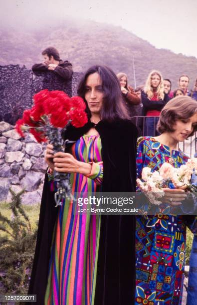 The matron of honor and sister of the bride, Joan Baez, at the wedding of Mimi Farina and Milan Melvin at the Big Sur Folk Festival in 1968.