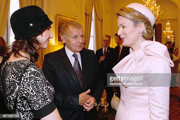 Matron of honor of Queen Mathilde Of Belgium Clotilde Boel journalist Patrick Poivre d'Arvor and Queen Mathilde Of Belgium attend the King Philippe...