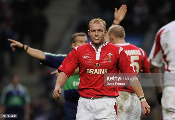 Matryn Williams of Wales leaves the field after he was shown the yellow card during the RBS Six Nations Championship match between England and Wales...