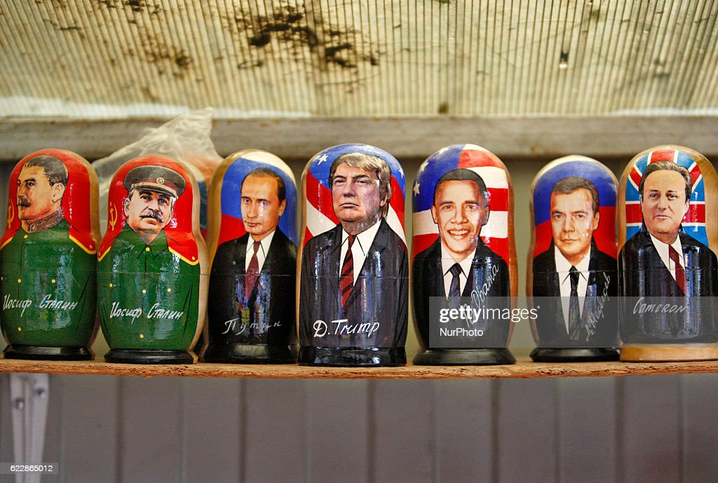 A matryoshka doll with the portrait of US President-elect Donald Trump (C) surrounded by other matryoshkas with images different political leaders is displayed on the table of the street souvenir vendor,at the Andriyivsky Descent in downtown Kiev, Ukraine,12 November 2016. Americans chose Republican candidate Donald Trump as the 45th President of the United States of America on 08 November, to serve from 2017 through 2020.